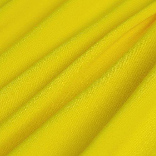 HOMEYEE Damen Vintage-Ausschnitt Kontrast Blumenabend Pencilkleid B288 Gelb + Schwarz