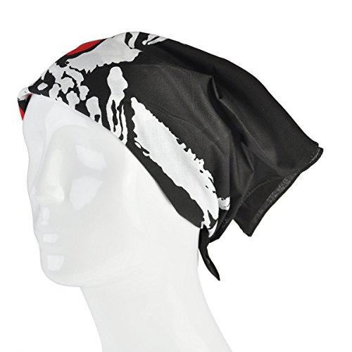 Foulard Bandana Foulard Écharpe Paisley Diverses Couleurs Unisexe Pour Hommes Femmes Foulard Bandana Noir - Red Eyes Skull - Black