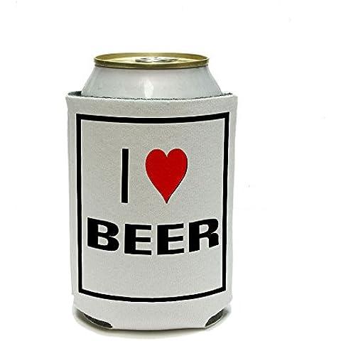Me encanta corazón lata de cerveza más fresco - copa cornetista - bebida aislado titular