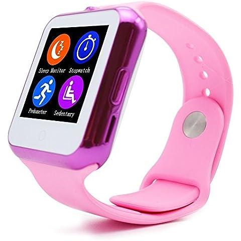 TURNMEON Reloj inteligente para Niños Niña mujeres SmartWatch reloj de pulsera con Heartrate SIM tarjeta SD de la cámara LED de alarma llamar abrir y cerrar para Smartphone (Pink)