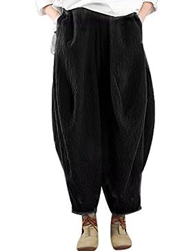 Youlee Mujer Pantalones de pantalón de cintura elástica pantalón ancho