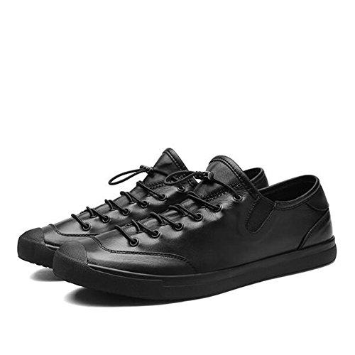 HUAN Scarpe Casual da Uomo Sneakers Basse in Pelle Sneakers Basse con Lacci Scarpe da Guida Black