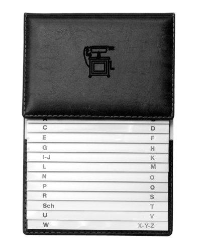 Veloflex 5157780 - Rubrica telefonica con registro di plastica e fogli morbidi, 155 x 225 mm, colore: Nero