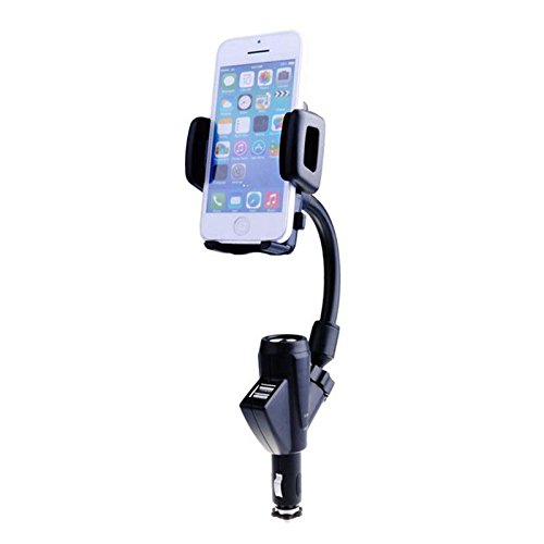 Mobilegear 2 in 1 Dual USB Car Charger Cum Car Mount Mobile Holder with 360 Degree Rotation (CE Certified)