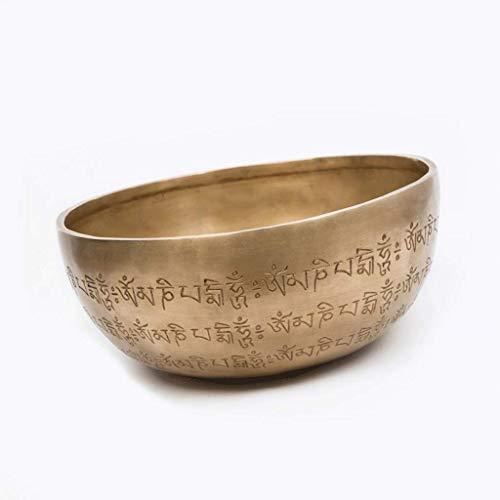 Handgemachte tibetische Klangschale Meditation Chakra Heilung stille Seele nepalesische Yoga-Schüssel, religiöse buddhistische Lieferungen (Color : Metallic, Größe : 24cm)