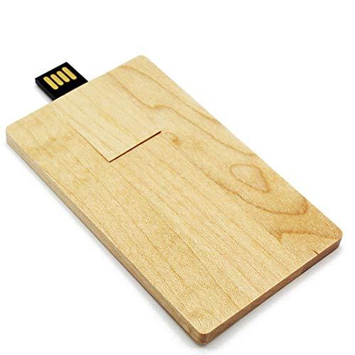 Pudincoco Érable Naturel Bois Carte De Crédit USB 2.0 Haute Vitesse Rotatif Clés Clé À Mémoire Stick Stick Pouce U Disque Dur pour Ordinateurs Portables (Couleur Bois)