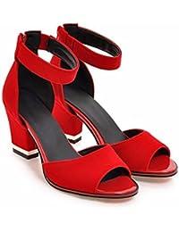 Tamaño grande de verano los zapatos de tacón alto, zapatos de mujer, color sólido suede, un personaje sandalias,gules,42
