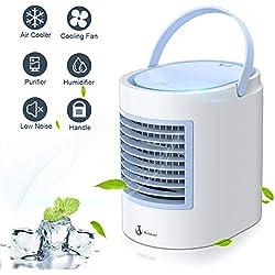 ENKLEN Climatiseur Mobile, Anbber Personal 4 en 1 Multifonction USB Portable Mini climatiseur, humidificateur et purificateur d'air avec veilleuse, 3 Niveaux de Puissance pour Le Camping à Domicile