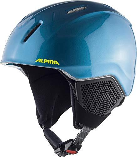 Alpina carat lx - casco da sci da ragazzo, bambino, casco da sci, a9081, blu-giallo fluo, 48-52 cm