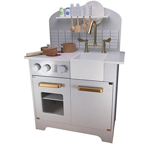 Completa En Gris Blanco de cocina madera infantil Juego Juguete Cocina Madera Cocina Cocina–Modern con un toque de diseño antiguo