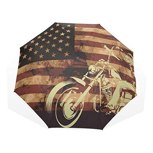 EZIOLY - Paraguas de Viaje con diseño de la Bandera de Estados Unidos con Calavera de Moto, Ligero, Anti Rayos UV, para Hombres, Mujeres y niños, Resistente al Viento, Plegable y Compacto Paraguas