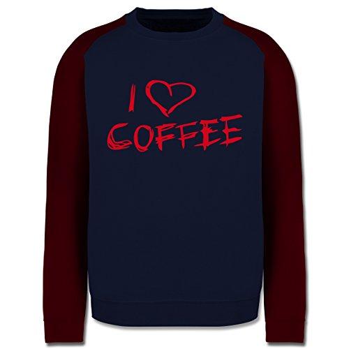 Küche - I Love Coffee - Herren Baseball Pullover Navy Blau/Burgundrot