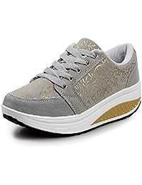 Fuxitoggo Zapatos Estampados de Mujer Zapatillas de Deporte con Cordones de Suela de Rocker Casual (