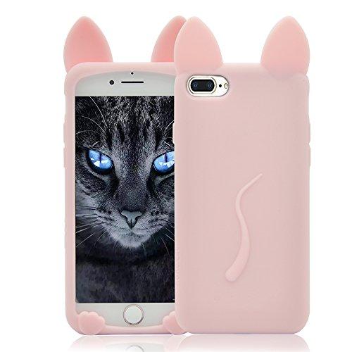 iPhone 7 Plus Silikon Hülle Katze Ohr,Sunroyal iPhone 7 Plus Muster TPU Case Schutzhülle Silikon Crystal Case Durchsichtig, Bunt Black Schwarz Cat Katze Tail Schwanz Muster Luxus Kristall Crystal Tran Rosa
