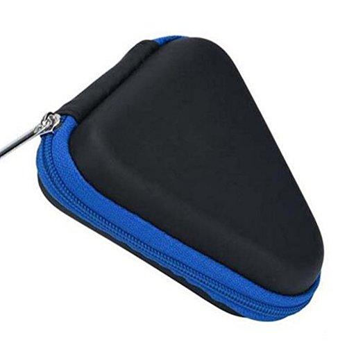 Hosaire Housse Protection pour Casque à écouteurs Triangle Pochette Case avec Fermeture étui Portable de Voyage Boîte pour Câble USB/Casque à écouteurs/Chargeur/Porte-Monnaie et Clés -Bleu