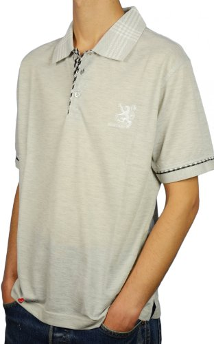 Mens Scotland Lion Breast Logo Tartan Collar Short Sleeved Polo Shirt Light Grey