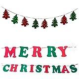 2x Weihnachts Girlande |3 Meter | 1x Weihnachtsbäume + 1x Merry Christmas | Filz rot grün | Weihnachtsgirlande zum Selbstgestalten - DIY | Adventsgirlande | Weihnachten Deko | Fenstergirlande