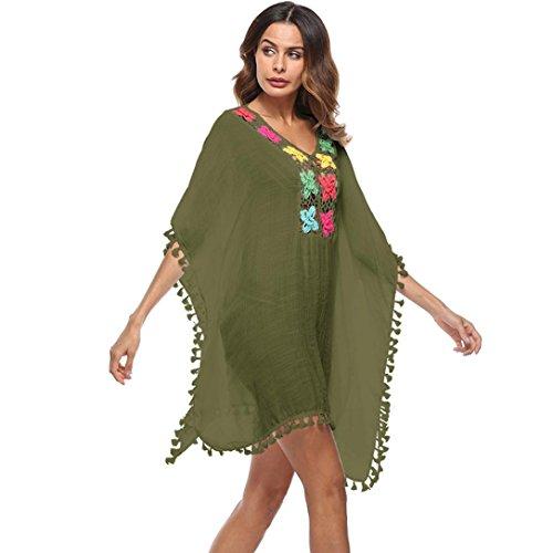 OVERDOSE Frauen Quaste lose große Größe Badeanzug Bikini Kleid Strand vertuschen Sonnenschutz Aufdecken Beach Cover Up (Army Green,Free size) Pink-green-dot Kleid