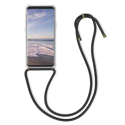 kwmobile Samsung Galaxy S9 Hülle - mit Kordel zum Umhängen - Silikon Handy Schutzhülle für Samsung Galaxy S9 - Transparent Schwarz