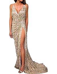 iShine Donna Sottile Vestito con Aberturas Paillettes Abito Maxi V-Collo  Profondo Senza Schienale Vestiti da Sera… 2ad31e3c81c
