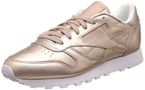 Reebok Classic Leather L - Baskets Basses - Femme - Or (Pearl Met-Peach/White) - 39 EU
