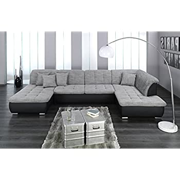 sofa polsterecke linosa wei strukturstoff schwarz ecksofa von jalano wohnlandschaft u form. Black Bedroom Furniture Sets. Home Design Ideas