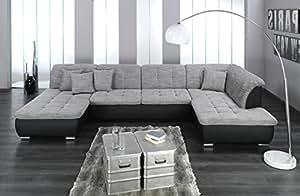 Arbd wohnlandschaft farus couchgarnitur xxl sofa u form schwarz grau ottomane rechts amazon - Couchgarnitur xxl ...