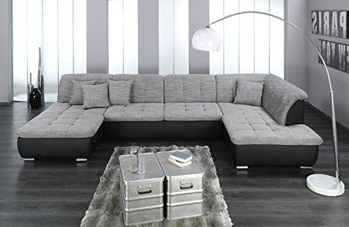 ARBD Wohnlandschaft Farus, Couchgarnitur XXL Sofa, U-Form, schwarz/grau, Ottomane Rechts