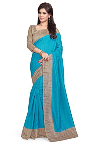 Sourbh Raw Silk Saree (824A_Turquoise,Beige)