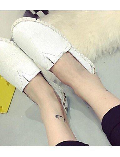 ShangYi Scarpe Donna - Mocassini - Casual - Comoda / Punta arrotondata - Piatto - Finta pelle - Nero / Bianco Black