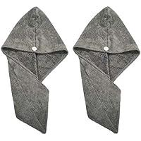 Polyte Microfiber Hair Turban Wrap Drying Towel, 30 x 71 cm, 2 Pack (Dark Gray)