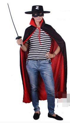 Chen Tao Halloween - party kostüm - erwachsene und Kinder - Zorro verkleidet MIT Schwarz - Rot - umhang Zorro(Erwachsenen Wind + Maske + Hut + (Maske Hut Zorro Und)