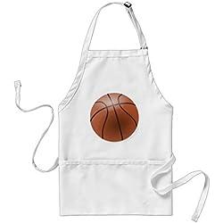 Cute baloncesto delantal patrones para las niñas niños cocina de restaurante Chef cocinar barbacoa delantales Ajustable Correa para el cuello y cintura bridas