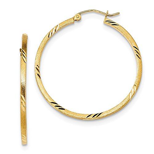 Damen-14K Gelb Gold Satin Diamant Schnitt Runde Röhre Hoop Ohrringe für Frauen