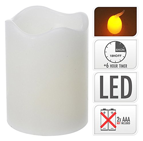 Vela LED de cera (Color Blanco, centelleante), con temporizador