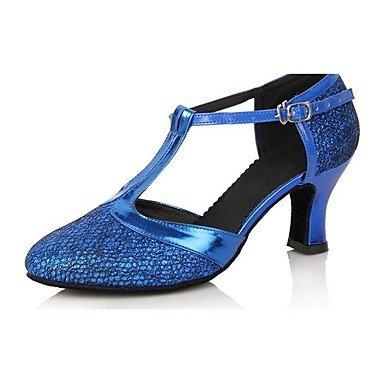 XIAMUO Frauen Kunstleder obere Latin Dance Schuhe Sandalen mit Buckie (weitere Farben) Lila