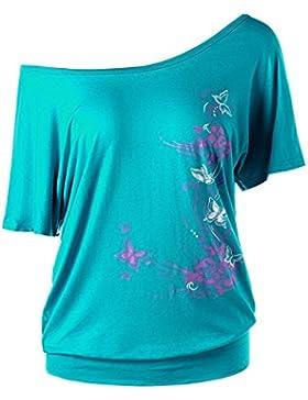 Juleya Mujer Camiseta Manga Corta Camisa Batwing Tops Camisa de Estampado Floral Un Hombro Blusas Sueltas Asimetría