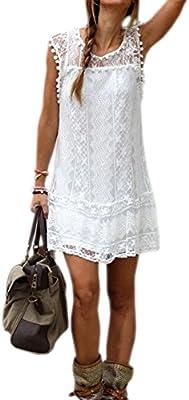 DELEY de Mujer de Verano sin Mangas de la Playa Vestido de Fiesta Casual Encaje Túnica Corta Mini Vestido