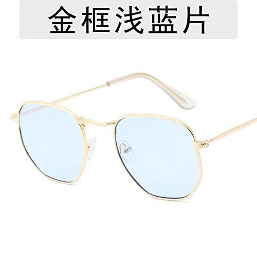 Sonnenbrille Für Männer Und Frauen Mode Metallische Retro Polygon Polarisierte Sonnenbrillen Designer Outdoor Reisen Sport Leichte Und Bequeme Sommer Uv400 Gold Frame Hellblau