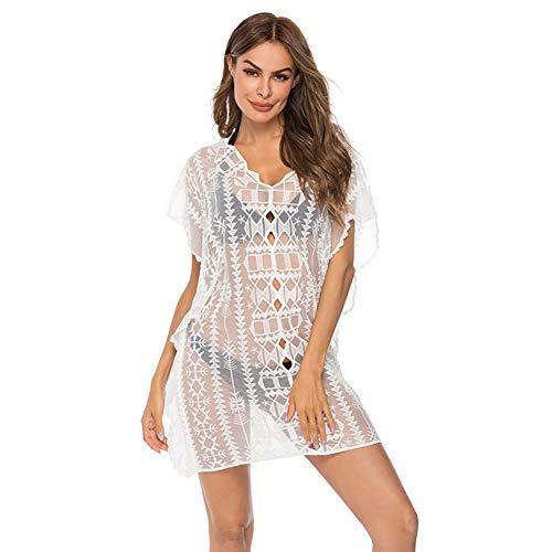 Vinke Damen Bademode Cover up Lace Floral White Perspektive Sommerkleid Strandkleid Bikini Pareos (Weiß) -