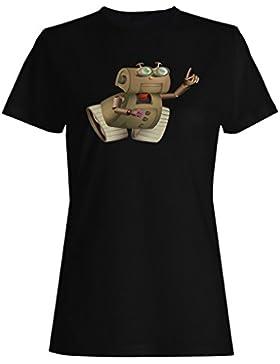 Dibujos animados robot animación feliz camiseta de las mujeres g735f