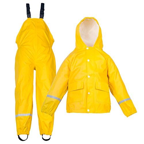 Regenjacke + Matschhose 2-Teiliges Set Kinder Regenbekleidung Gelb - Wasserdicht Winddicht Gr. 116