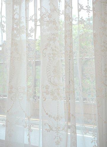 Vintage Weiße Tüll (GWELL Elegant Supersanft Weiß Transparent Voile Vorhang Gardine Schal mit Ösen TOP QUALITÄT 1er-Pack 140*225cm)