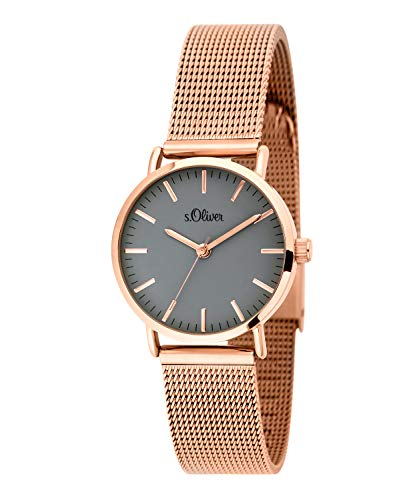 s.Oliver Damen-Armbanduhr Analog Quarz Edelstahl (Roségold/Weiß)