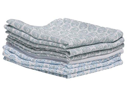 Baby Waschtücher aus Baumwoll-Musselin, Baby Waschlappen - (7 Stück), 30x30 cm, Öko-Tex Standard 100, Fische blau