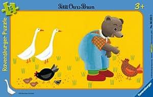 Ravensburger - 063239 - Puzzle Enfant avec cadre - Petit Ours Brun à la ferme - 15 Pièces