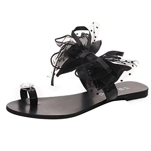 Transer® Damen Toepost Flach Slipper Schwarz Grau Weiß Kunstleder+Gummi mit Groß Bowknot Mode Rhinestone Outdoor Hausschuhe Schwarz