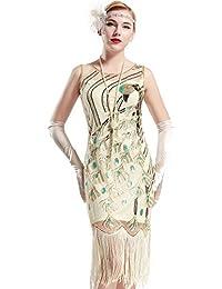 BABEYOND Robe Flapper Paon Déco 1920 Femme Robe Frangée avec Paillette Sequin Robe Gatsby Classique sans Manche pour Deguisement Gatsby Occasion de Fête Bal Soirée Art Déco Tango Latine