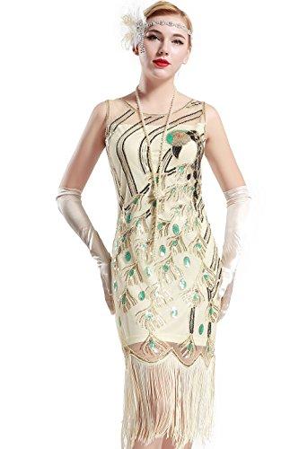 BABEYOND Damen Pailletten Pfau Feder Muster Lange Kleider mit Troddel Ohne Arm Damen Retro Kostüm Kleid (Beige, Größe M/ UK12-14/ EU40-42)