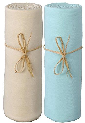 Preisvergleich Produktbild P 'tit Basile–2Spannbetttücher Baby Größe und verschiedene Farben. Jersey Bio-Baumwolle. Ausziehbar mit elastisch Rundum, hochwertige gekämmte Baumwolle